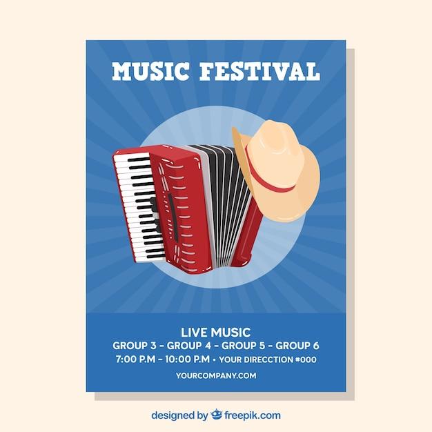 Muziekfestivalaffiche met instrumenten in vlakke stijl Gratis Vector