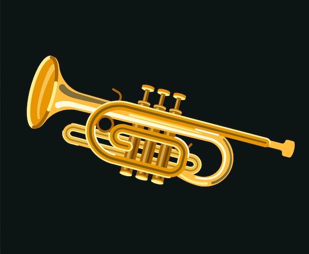Muziekinstrument cornet Premium Vector