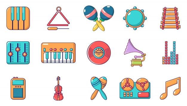 Muziekinstrument pictogramserie. beeldverhaalreeks muzikale instrument vectorpictogrammen geplaatst geïsoleerd Premium Vector
