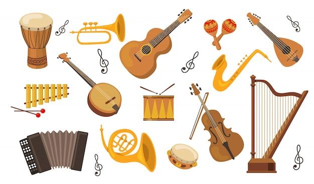 Muziekinstrument set Gratis Vector
