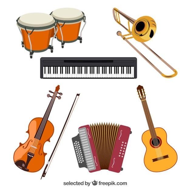 Muziekinstrumenten collectie Gratis Vector