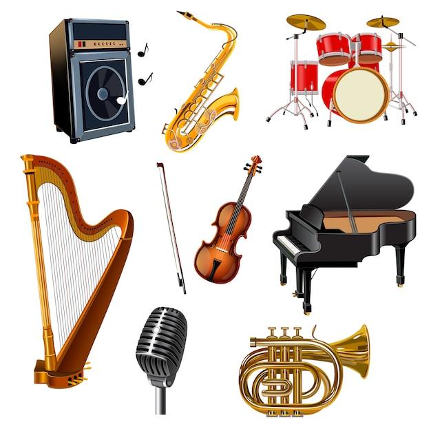 Muziekinstrumenten decoratieve pictogrammen instellen Gratis Vector