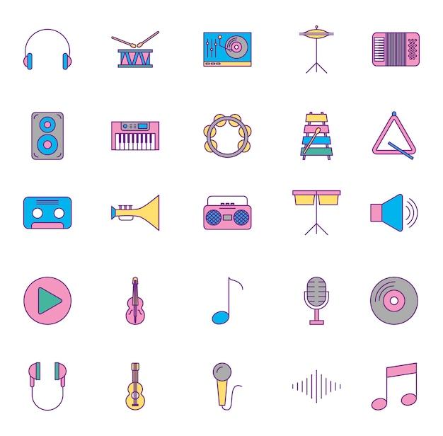 Muziekinstrumenten en set pictogrammen Gratis Vector
