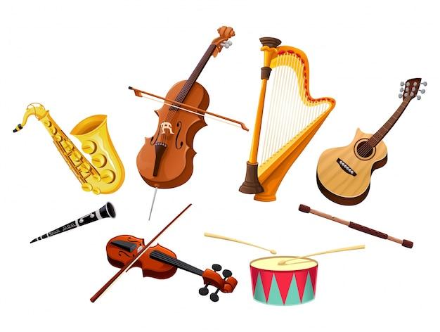 Muziekinstrumenten geïsoleerd vector voorwerpen Gratis Vector