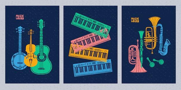 Muziekinstrumenten, gitaar, viool, viool, klarinet, banjo, trombone, trompet, saxofoon Premium Vector