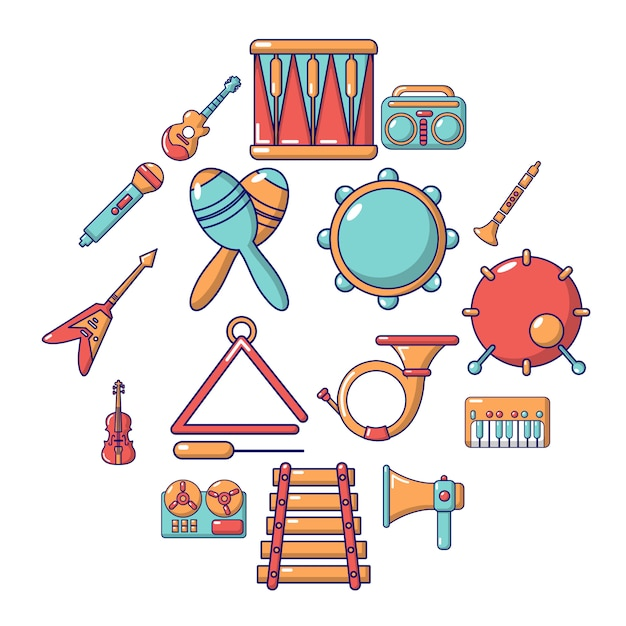 Muziekinstrumenten icon set, cartoon stijl Premium Vector