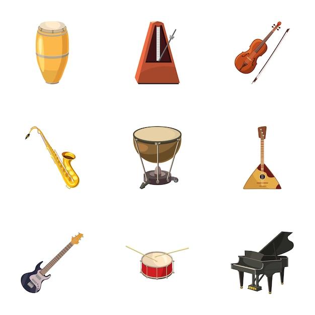 Muziekinstrumenten iconen set, cartoon stijl Premium Vector