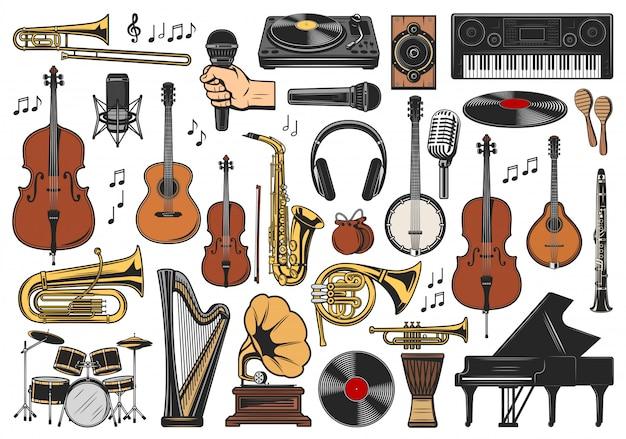 Muziekinstrumenten, muzieknoten en apparatuur Premium Vector