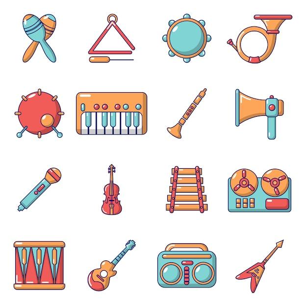 Muziekinstrumenten pictogrammen instellen Premium Vector