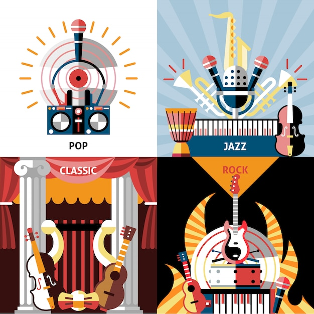 Muziekinstrumenten samenstelling platte set. pop, jazz, klassiek en rock Gratis Vector