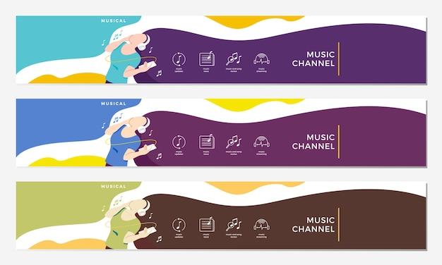 Muziekkanaal youtube-cover Premium Vector