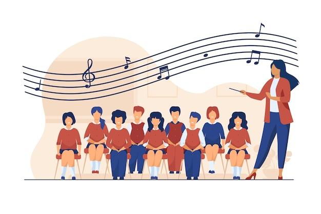Muziekles op school. dirigent met stokje staande koor van zingende kinderen platte vectorillustratie. koor, activiteit, hobby Gratis Vector