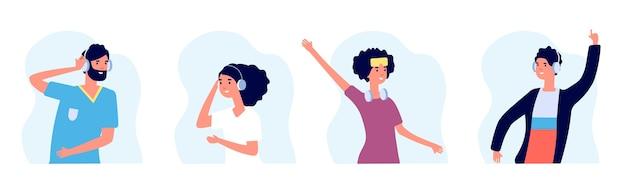 Muziekliefhebbers. mensen luisteren naar muziek platte karakters. vrouwen en mannen met draadloze hoofdtelefoons vectoravatars Premium Vector