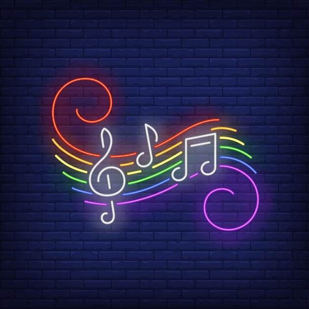 Muzieknotities met lgbt-kleuren neonteken Gratis Vector