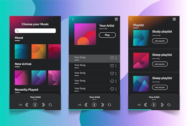 Muziekspeler app interface concept Gratis Vector