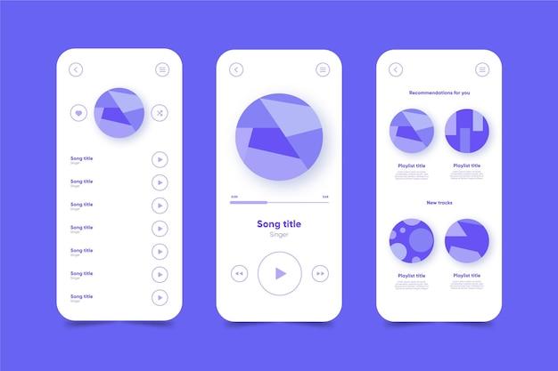 Muziekspeler app-interface sjabloon Gratis Vector