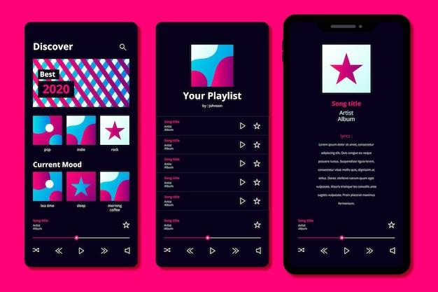 Muziekspeler app-interface sjabloonpakket Gratis Vector
