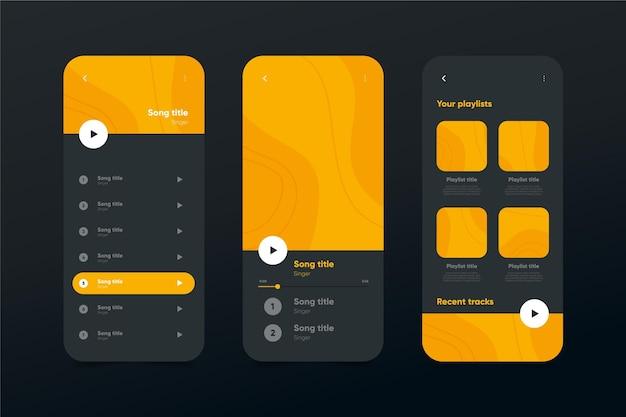 Muziekspeler app interface sjabloonverzameling Gratis Vector