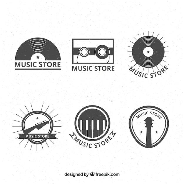 Muziekwinkel logo collectie met vintage stijl Gratis Vector