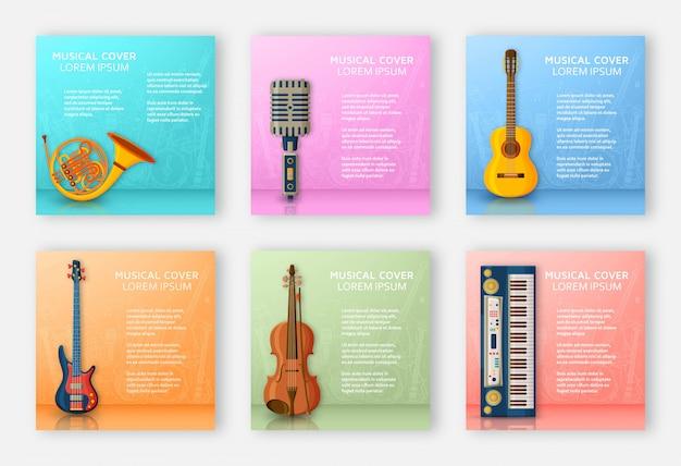 Muzikale achtergrond gemaakt van verschillende muziekinstrumenten, solsleutel en notities. tekstplaats. kleurrijke illustratie. Premium Vector