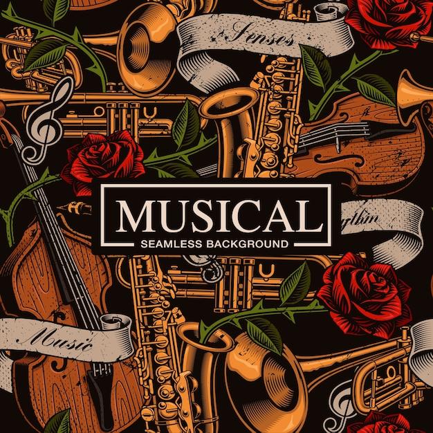Muzikale naadloze achtergrond in tattoo-stijl met verschillende muziekinstrumenten, rozen en vintage lint. tekst, kleuren staan op de afzonderlijke groepen. Premium Vector