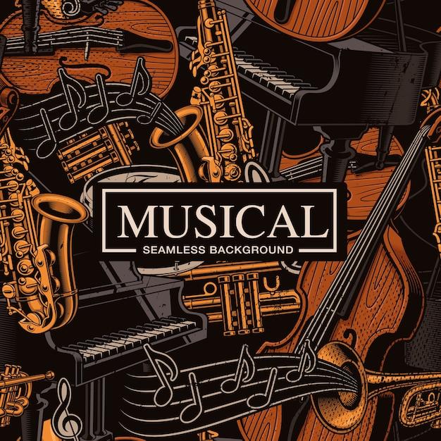 Muzikale naadloze achtergrond met verschillende muziekinstrumenten, jazzart. kleuren, staan op de afzonderlijke groepen. Premium Vector