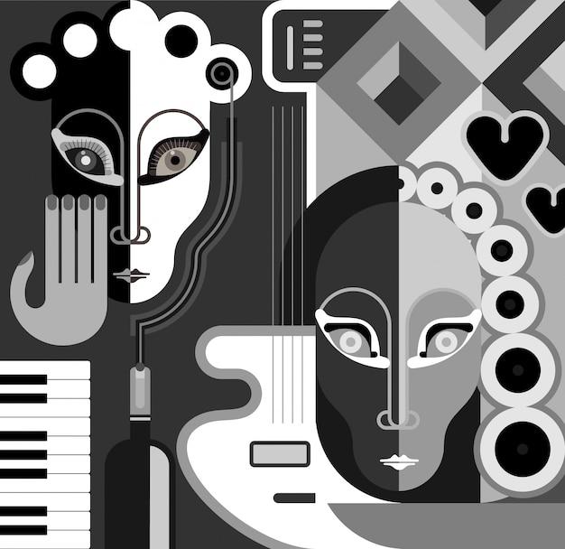 Muzikale partij - abstracte vectorillustratie. zwart en wit gestileerde collage. kunst. Premium Vector