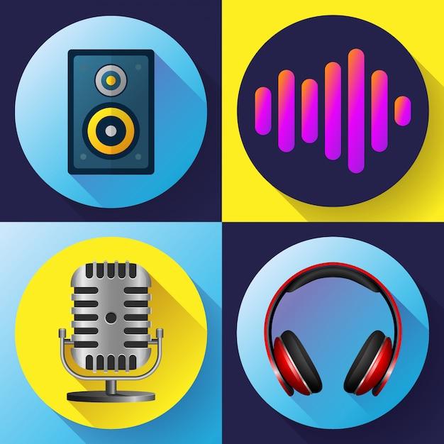 Muzikale pictogrammen instellen vlakke stijl Premium Vector