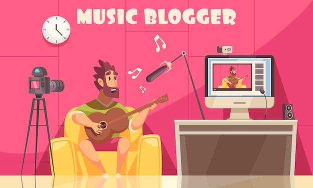 Muzikale video blog achtergrond Gratis Vector