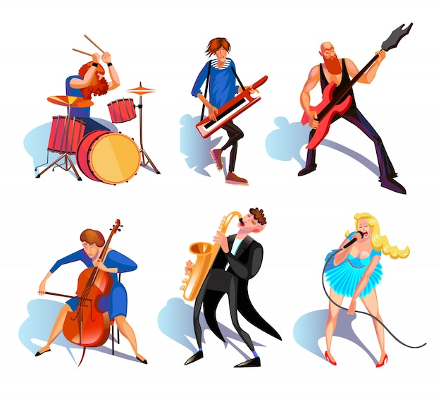 Muzikanten cartoon set Gratis Vector