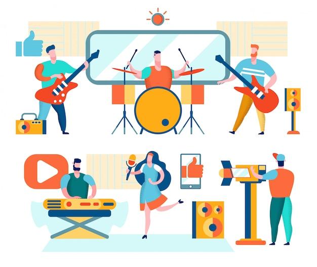 Muzikanten en zangers spelen muziek Premium Vector