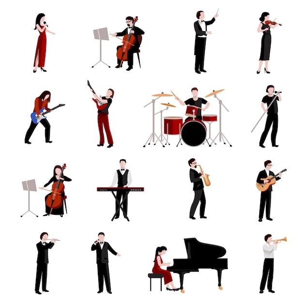 Muzikanten plat pictogrammen instellen met pianist klarinet trompetgitaristen Gratis Vector