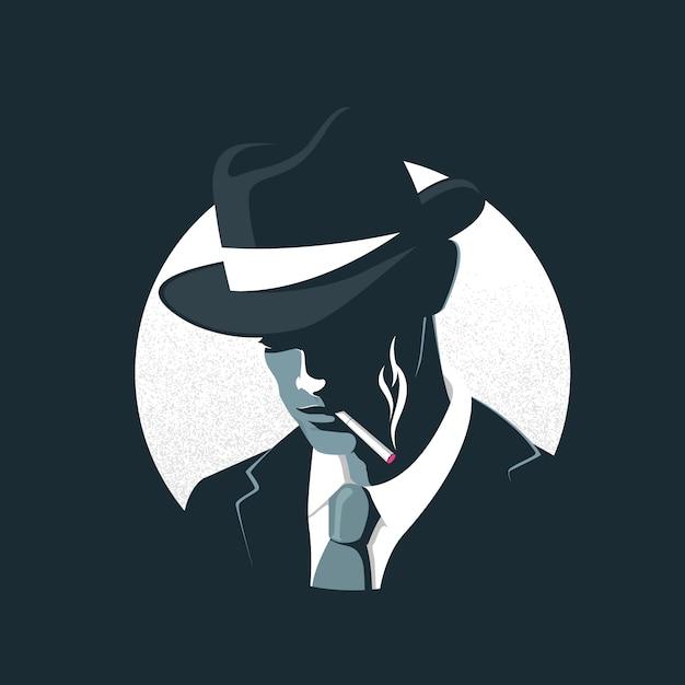 Mysterieus gangsterpersonage Gratis Vector