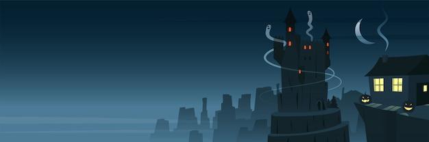 Mysterieuze en griezelige nachtscène-banner Premium Vector