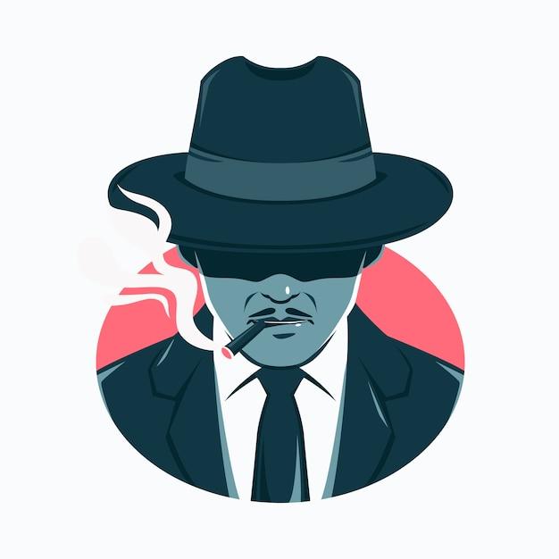 Mysterieuze maffia man die een sigaret rookt Gratis Vector