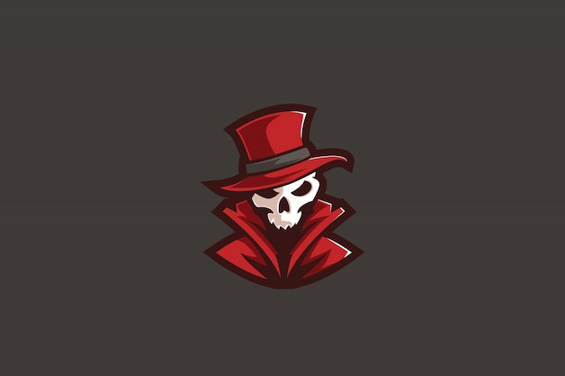 Mysterious red e sports-logo Premium Vector