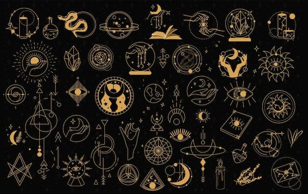 Mystiek en astrologie objecten symbolen. doodle esoterische, boho mystieke handgetekende elementen. Premium Vector