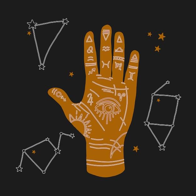 Mystieke illustratie van mudra hand met sterrenbeelden. astrologisch en esoterisch concept. heromantie met het alziende oog. mysterieuze illustraties Premium Vector