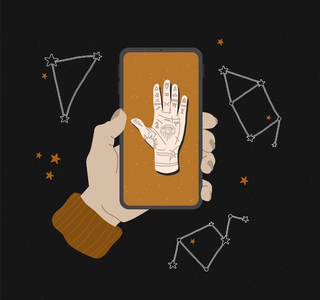 Mystieke illustratie van mudra hand met sterrenbeelden. astrologisch en esoterisch concept. heromantie met het alziende oog. voorraadafbeeldingen voor websiteontwerp, toepassingen en afdrukken op stof Premium Vector
