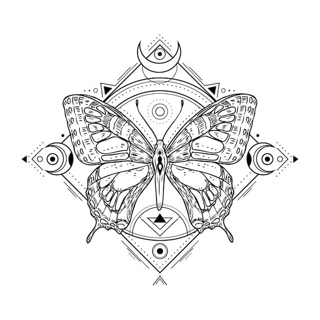 Mystieke insectentatoegering. gravure van mystiek spiritueel schetsontwerp. alchemie vrijmetselarij occulte vector symbool. tattoo schets vrijmetselarij, dier schetsmatige illustratie Premium Vector
