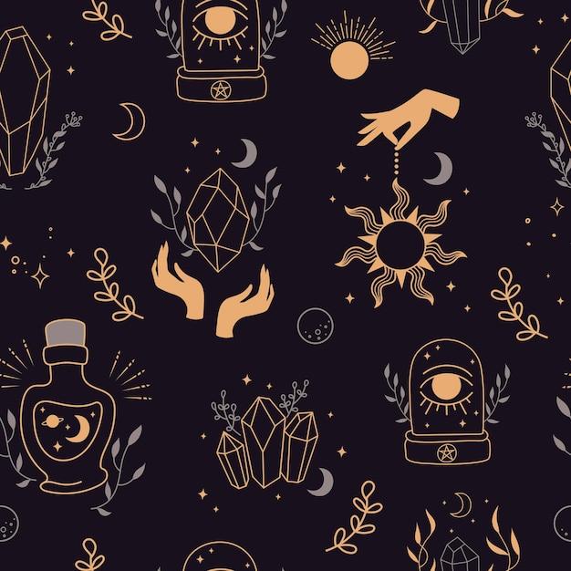 Mystieke naadloze achtergrond. hand getekend. achtergrond met esoterische symbolen. silhouet van handen, planeten, sterren, maanstanden en kristallen illustratie. esoterische symbolen en hekserij Premium Vector