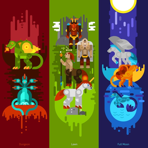 Mythical creatures banners vertical Gratis Vector