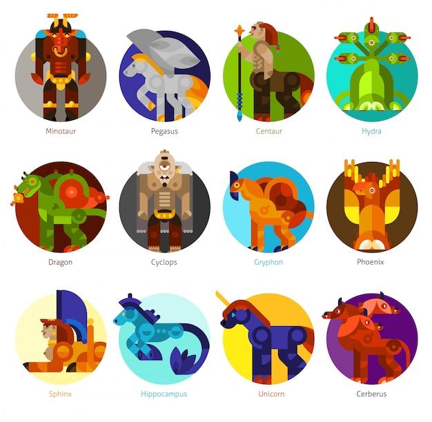 Mythische wezens pictogrammen instellen Gratis Vector