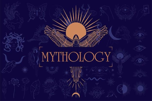 Mythologie en mystieke illustratie in handgetekende stijl met zon en feniks, mythisch wezen, esoterische en boho-objecten. Premium Vector