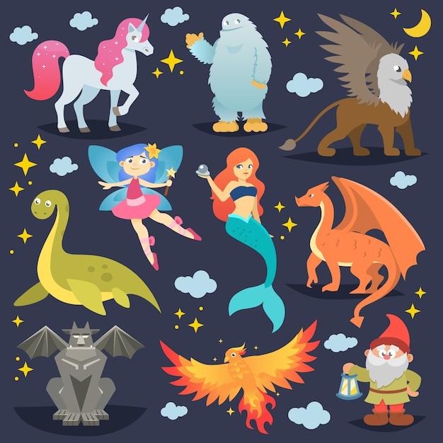 Mythologische dieren vector mythisch wezen phoenix of fantasy fee en karakters van de mythologie zeemeermin of eenhoorn en griffioen illustratie set cartoon beesten geïsoleerd Premium Vector