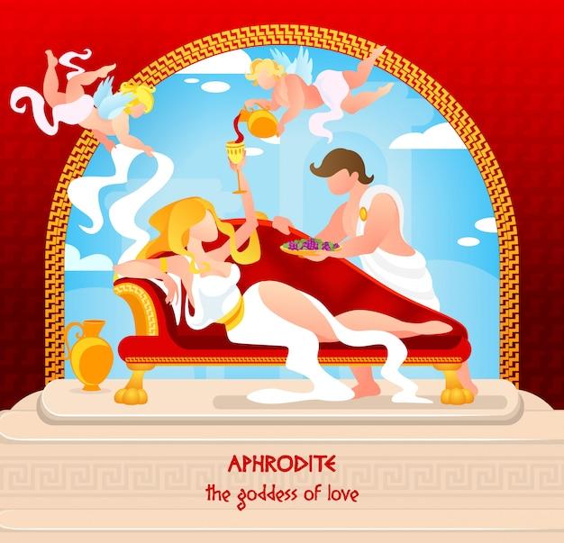 Mythology is written aphrodite the goddess of love Premium Vector