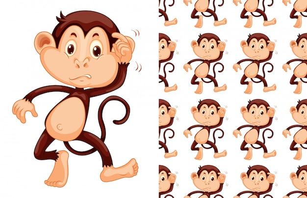 Naadloos aap dierlijk patroonbeeldverhaal Gratis Vector