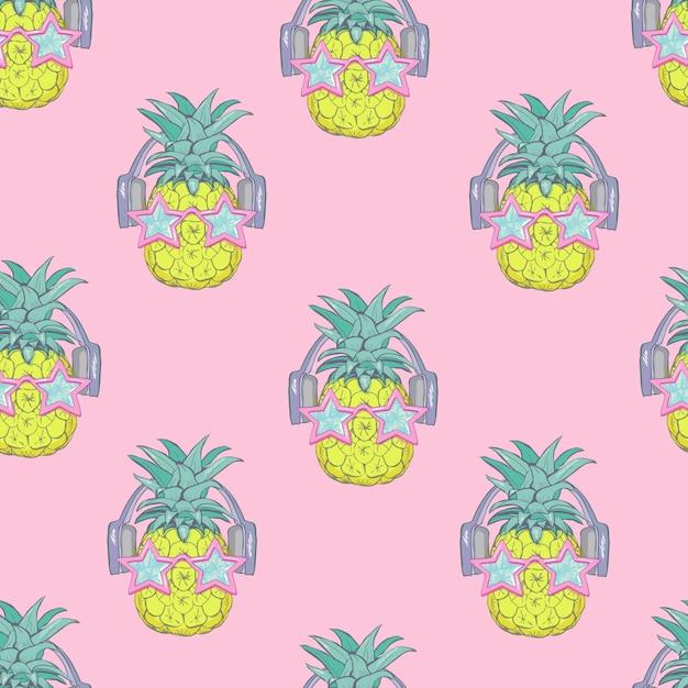 Naadloos ananaspatroon Premium Vector
