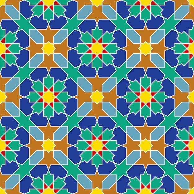 Naadloos arabisch geometrisch ornament dat op traditionele arabische kunst wordt gebaseerd Premium Vector