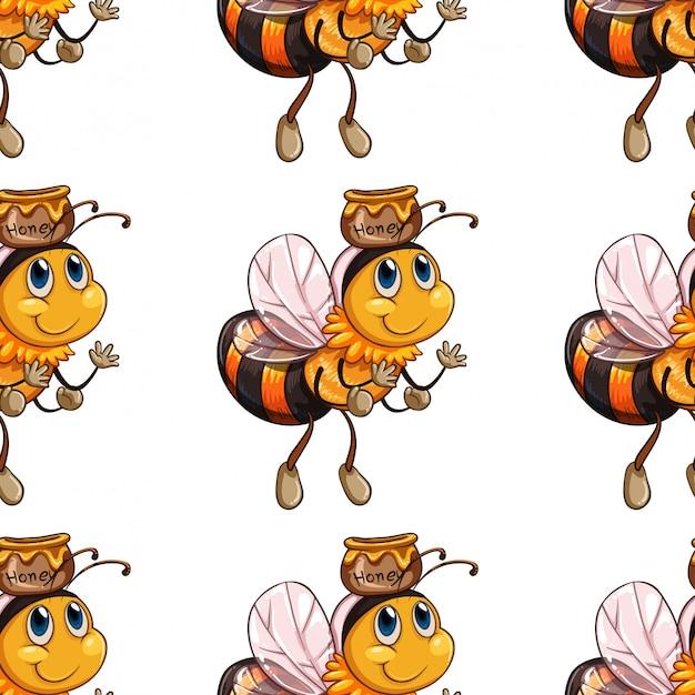 Naadloos bijenpatroon Gratis Vector